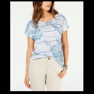 Style & Co Women's Shirt Floral Printed Scoop-Neck